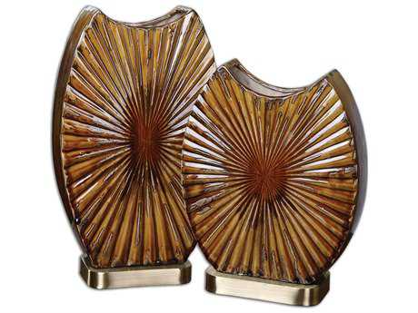 Uttermost Zarina Marbled Ceramic Vase (2 Piece Set)