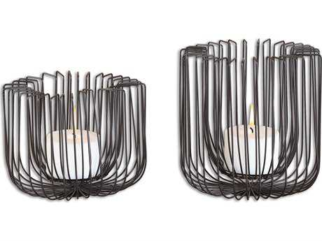 Uttermost Flare Black Wire Candle Holder (Set of 2)