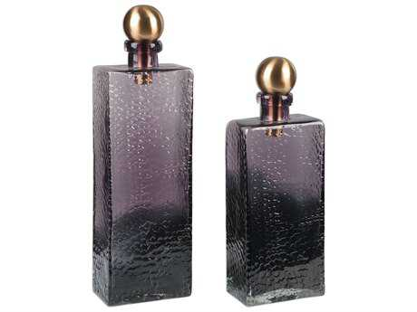 Uttermost Benedetto Ombre Amber & Bronze Glass Bottles (Two-Piece Set)