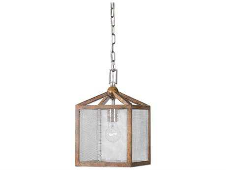 Uttermost Nashua Grey Taupe Washed Wood 8'' Wide Pendant