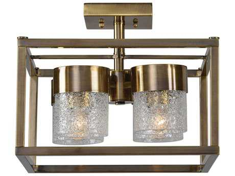 Uttermost Marinot Antique Brass & Heavy Textured Clear Glass Four-Light 15'' Wide Semi-Flush Mount Light