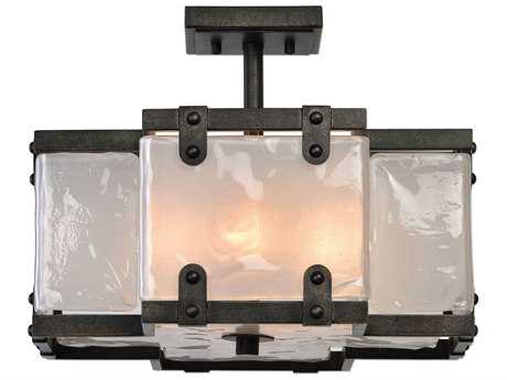 Uttermost Brattleboro Matte Black with Antique Brass Distressing Four-Light 16'' Wide Semi-Flush Mount Ceiling Light