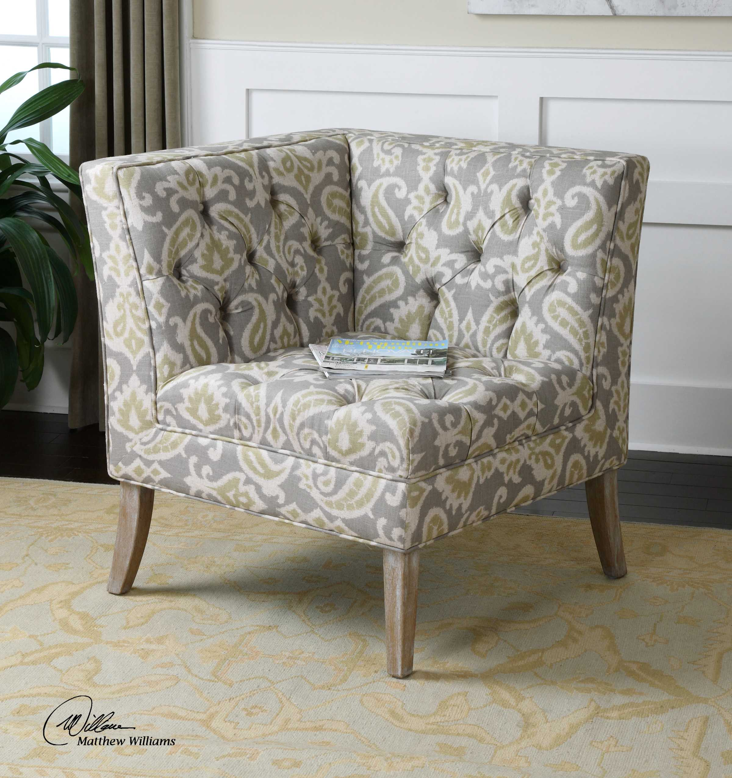 Corner Accent Chairs: Uttermost Meliso Tufted Corner Accent Chair