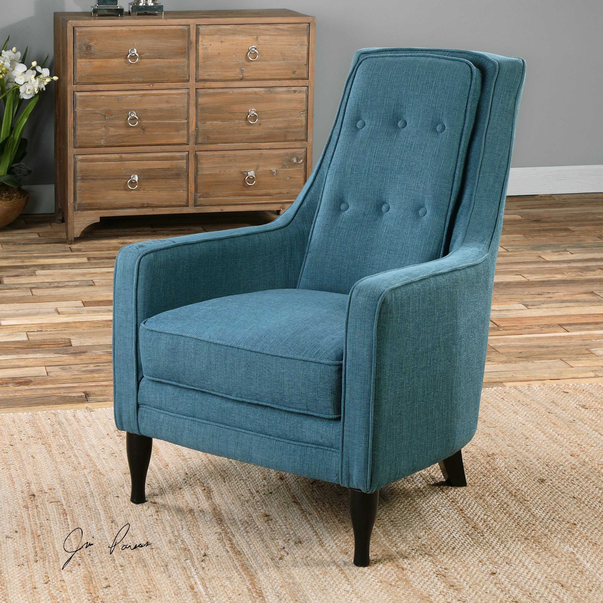 Uttermost Katana Peacock Blue Accent Chair Ut23192