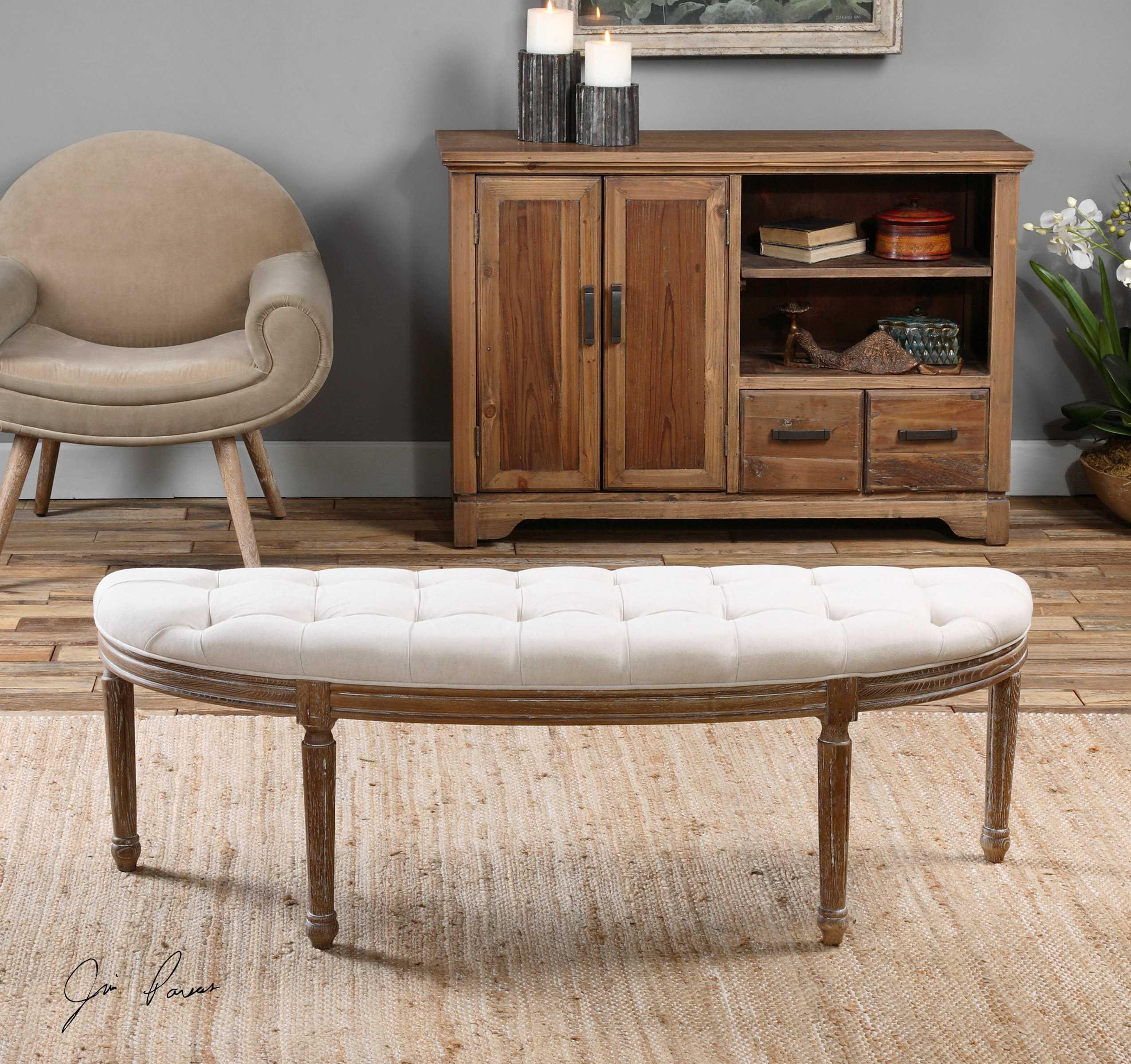 uttermost leggett tufted white bench ut23196. Black Bedroom Furniture Sets. Home Design Ideas