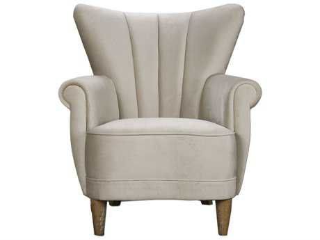 Uttermost Franchette Butterfly-back White Arm Accent Chair
