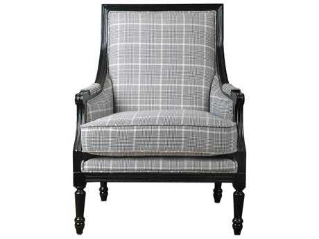 Uttermost Scott Wood Frame Black Arm Accent Chair