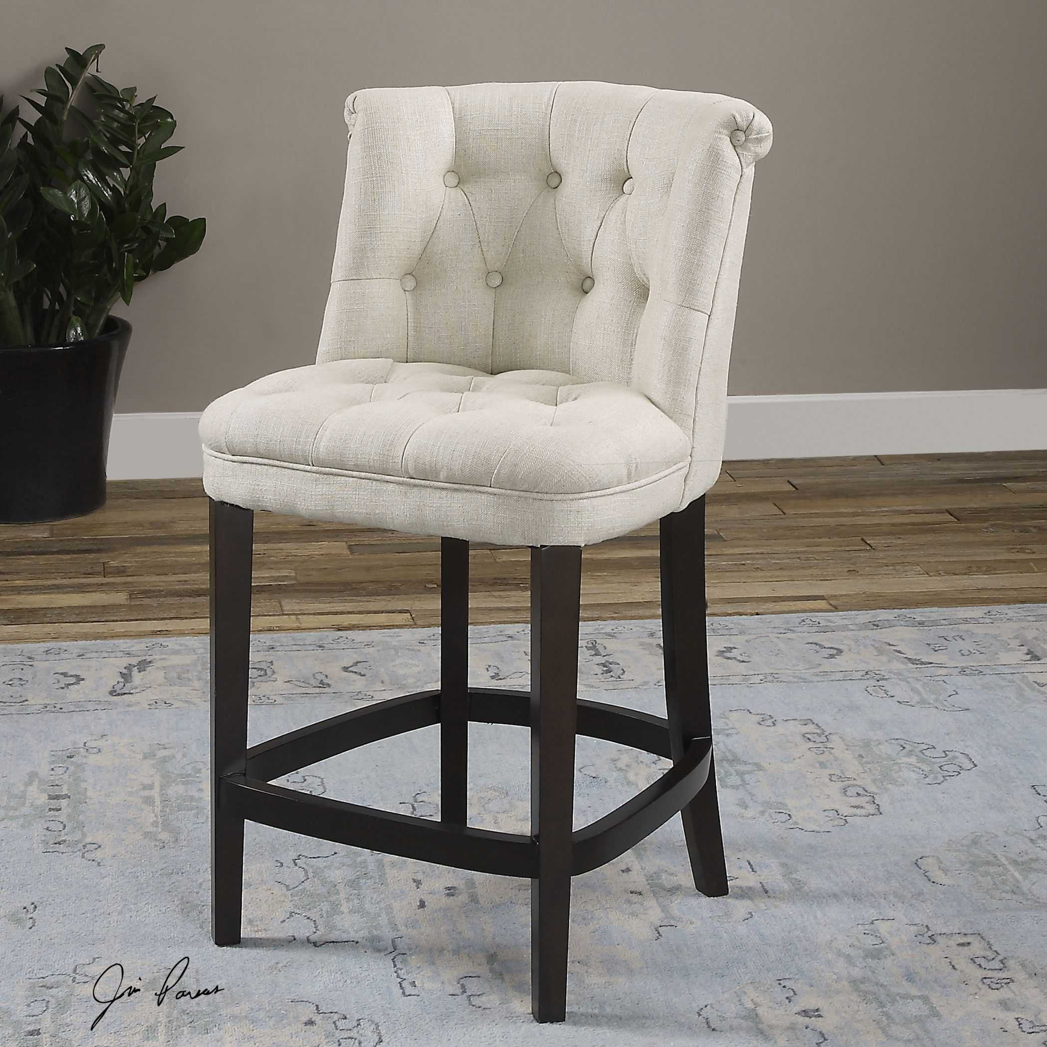 Uttermost Kavanagh Tufted White Linen Counter Stool Ut23236