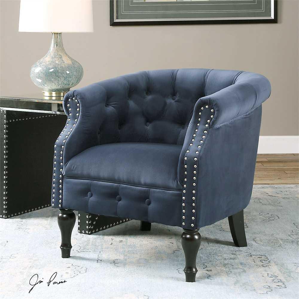 Uttermost Aviana Blue Velvet Accent Chair  UT23257