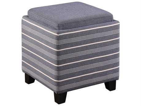 Uttermost Jim Parsons Lewis Blue Fabric Storage Ottoman
