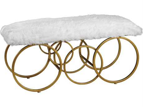 Uttermost Grace Feyock Blaine Plush White Fur Bench