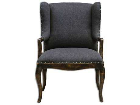 Uttermost Chione Black Arm Accent Chair