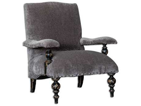 Uttermost Eavan Black & Gray Chenille Arm Accent Chair