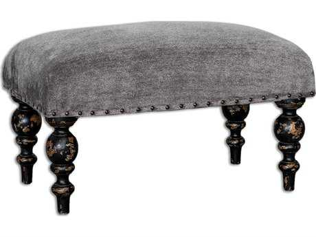 Uttermost Eavan Aged Black & Chenille Gray Ottoman