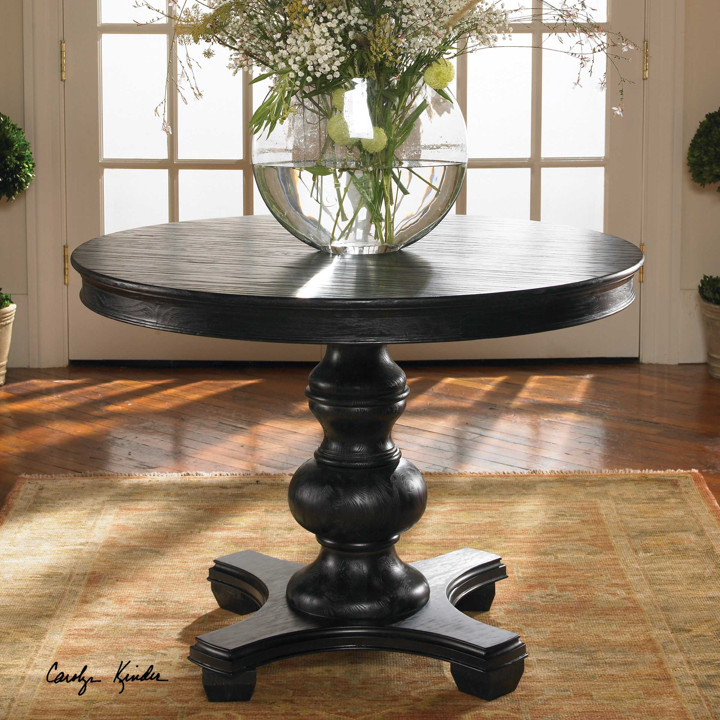 Uttermost Brynmore 42 Round Wood Grain Foyer Table Ut24310