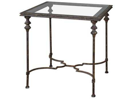 Uttermost Quillon 28 Square Glass End Table