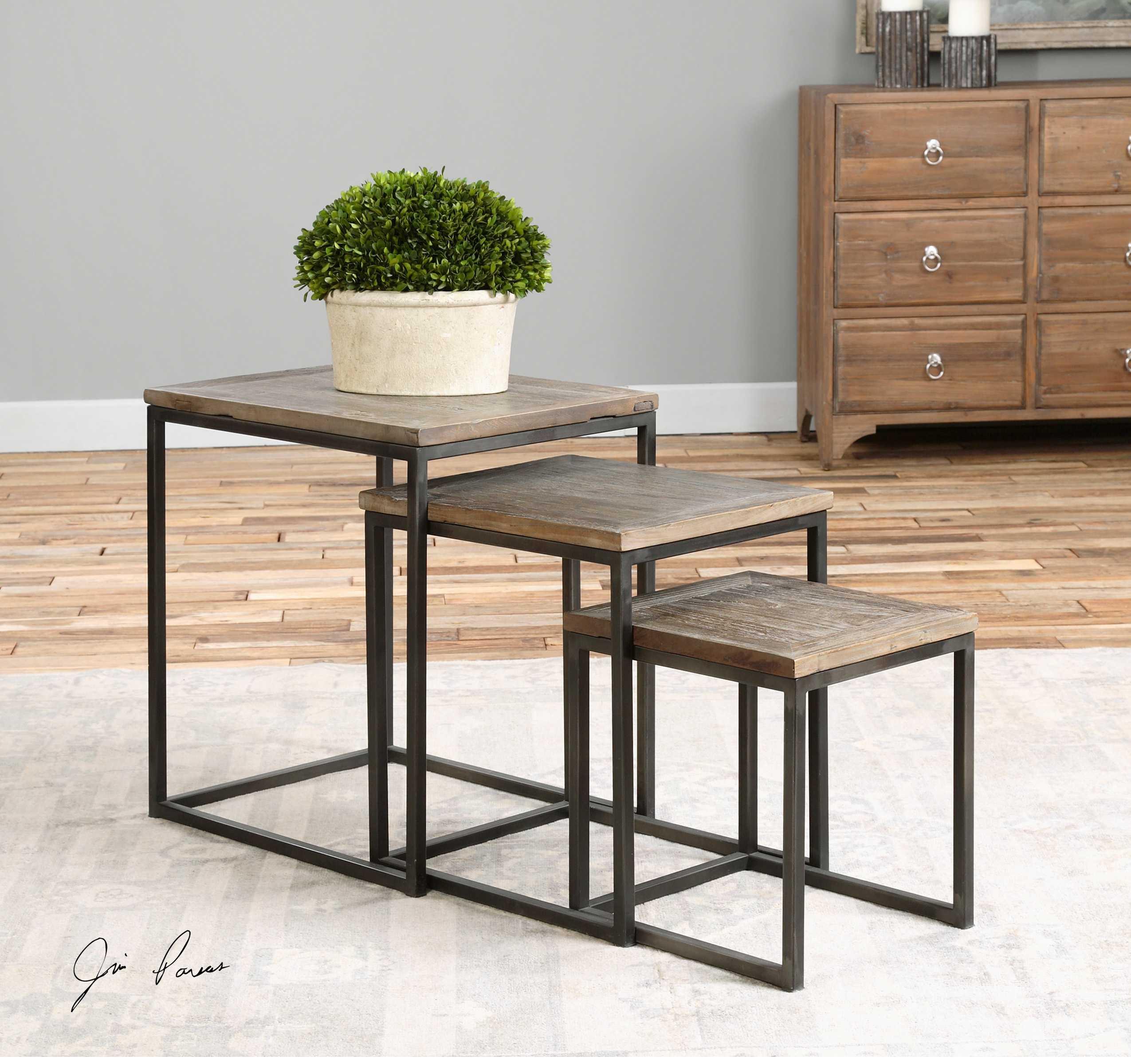 Uttermost Bomani 23.62 x 17.72 Rectangular Wood Nesting Tables (Set of 3) | UT24460