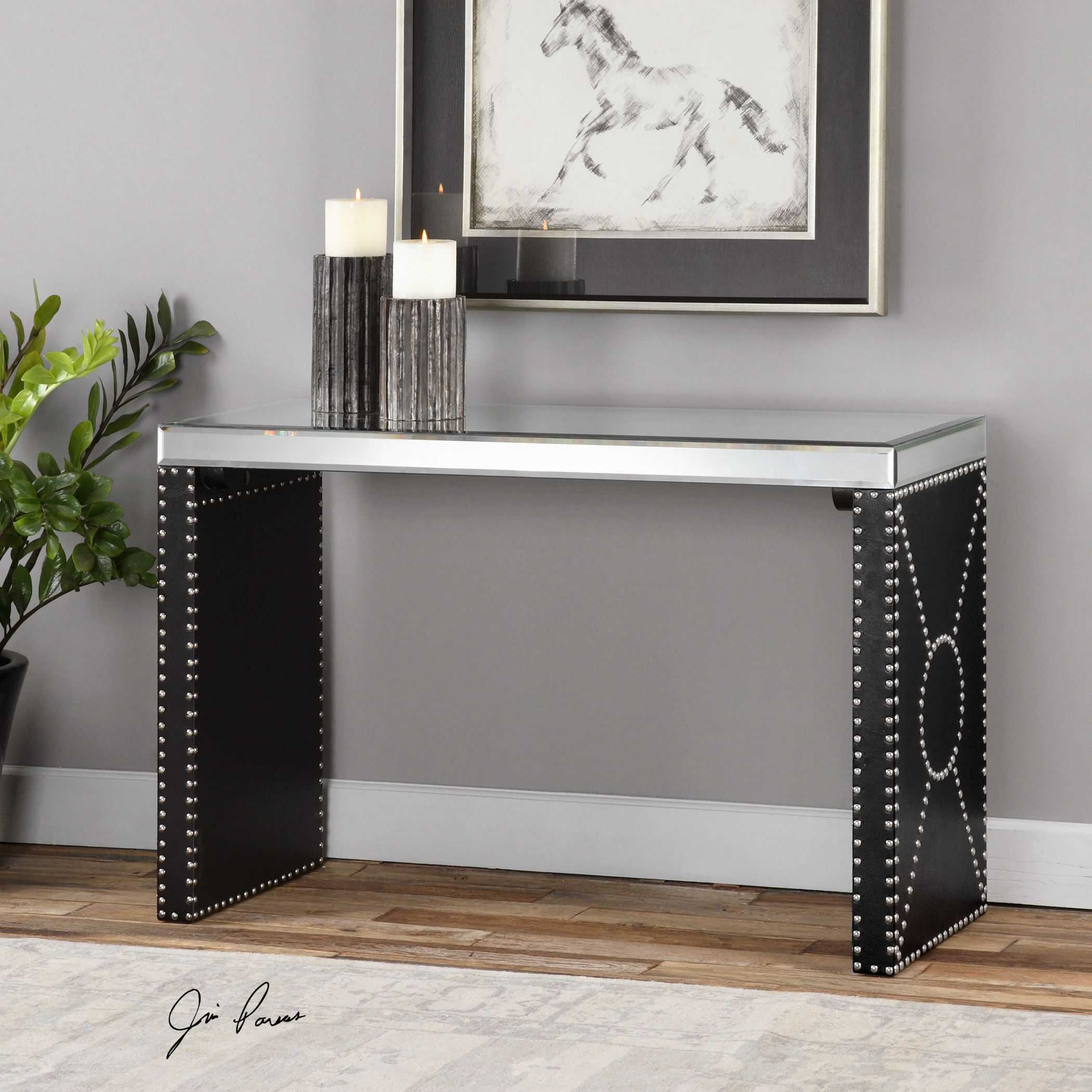 Mirrored Console Table: Uttermost Lucero 48 X 18 Rectangular Black Mirrored