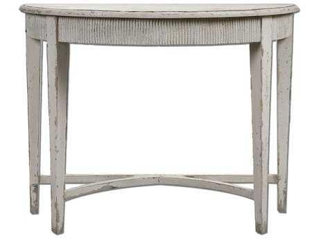 Uttermost Parisio 43 x 20 Demilune Antique White Console Table