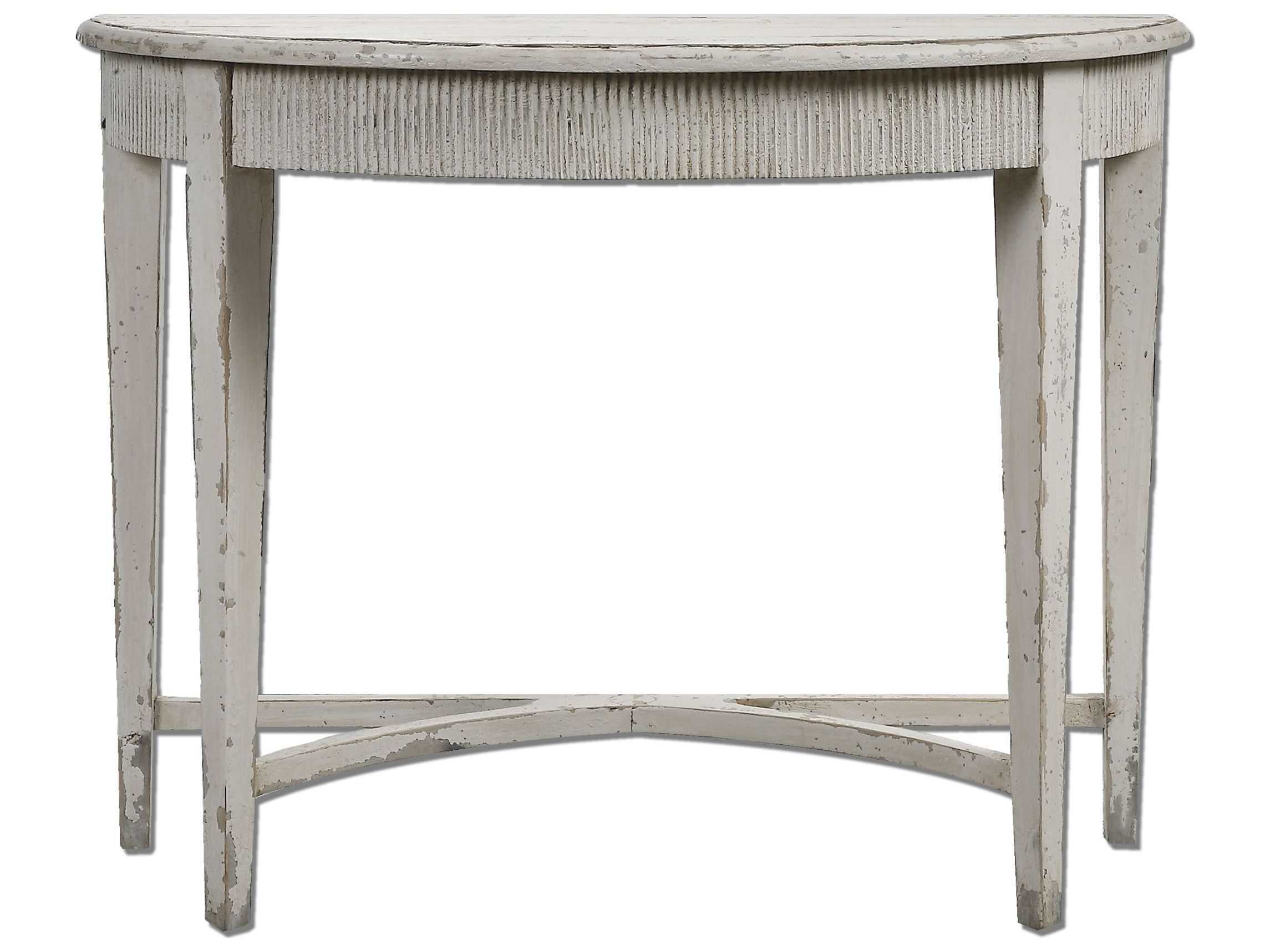 Uttermost parisio 43 x 20 demilune antique white console table ut24535 - White demilune console table ...