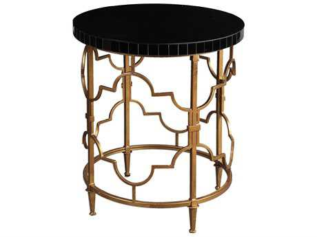 Uttermost Mosi Gold & Black 22' Round Accent Table