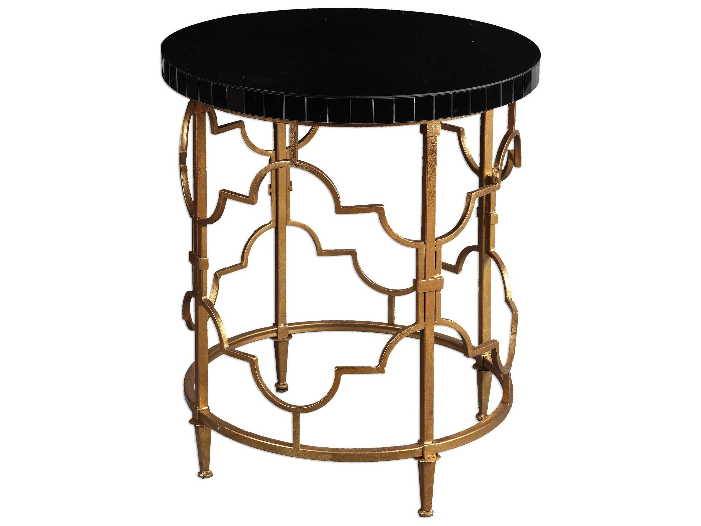 Uttermost mosi gold black 22 39 round accent table ut24606 for Black round end table