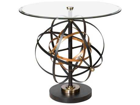 Uttermost Colman Black & Gold 31.5' Round Accent Table