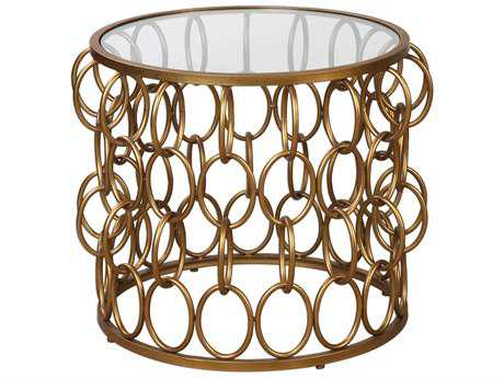 Uttermost Dipali Antique Gold Leaf 23'' Round Accent Table