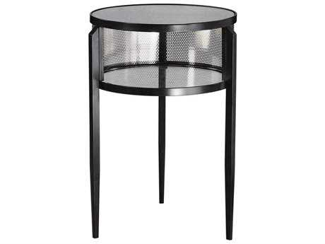Uttermost Gustav Aged Black 21'' Round Accent Table