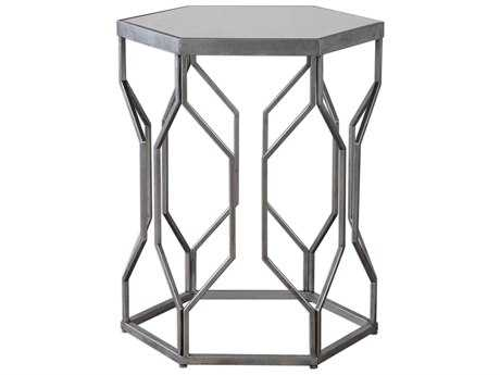 Uttermost Stellan Bright Silver Leaf 19.5''L x 17''W Hexagon Accent Table