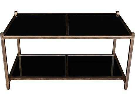 Uttermost Karol Black Glass & Antique Golf Leaf 24.5''L x 21.5''W Rectangular Coffee Table
