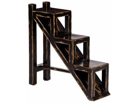 Uttermost Asher 10.5 x 32 Rectangular Black Stepped Accent Table