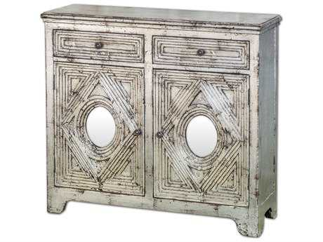 Uttermost Emrick 41 x 12 Distressed Silver Console Cabinet