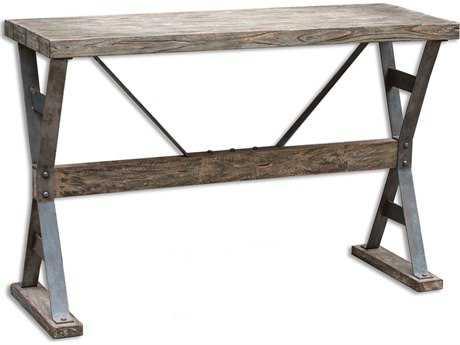 Uttermost Makoto 52 x 18 Rectangular Driftwood Wooden Industrial Console Table