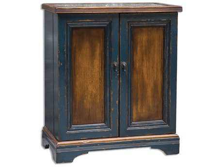 Uttermost Agacio 32 x 18 Navy Wooden Bar Cabinet
