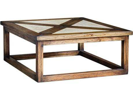 Uttermost Akono Natural Granite & Rustic Honey 42'' Square Coffee Table