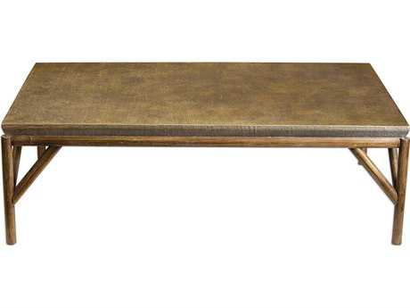 Uttermost Kanti Metallic Champagne & Weathered Oak 57''L x 34''W Rectangular Coffee Table