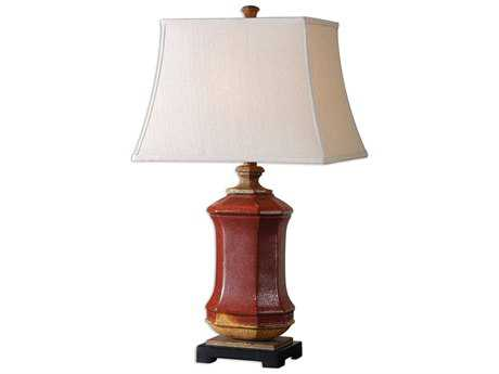 Uttermost Fogliano Red Ceramic Table Lamp