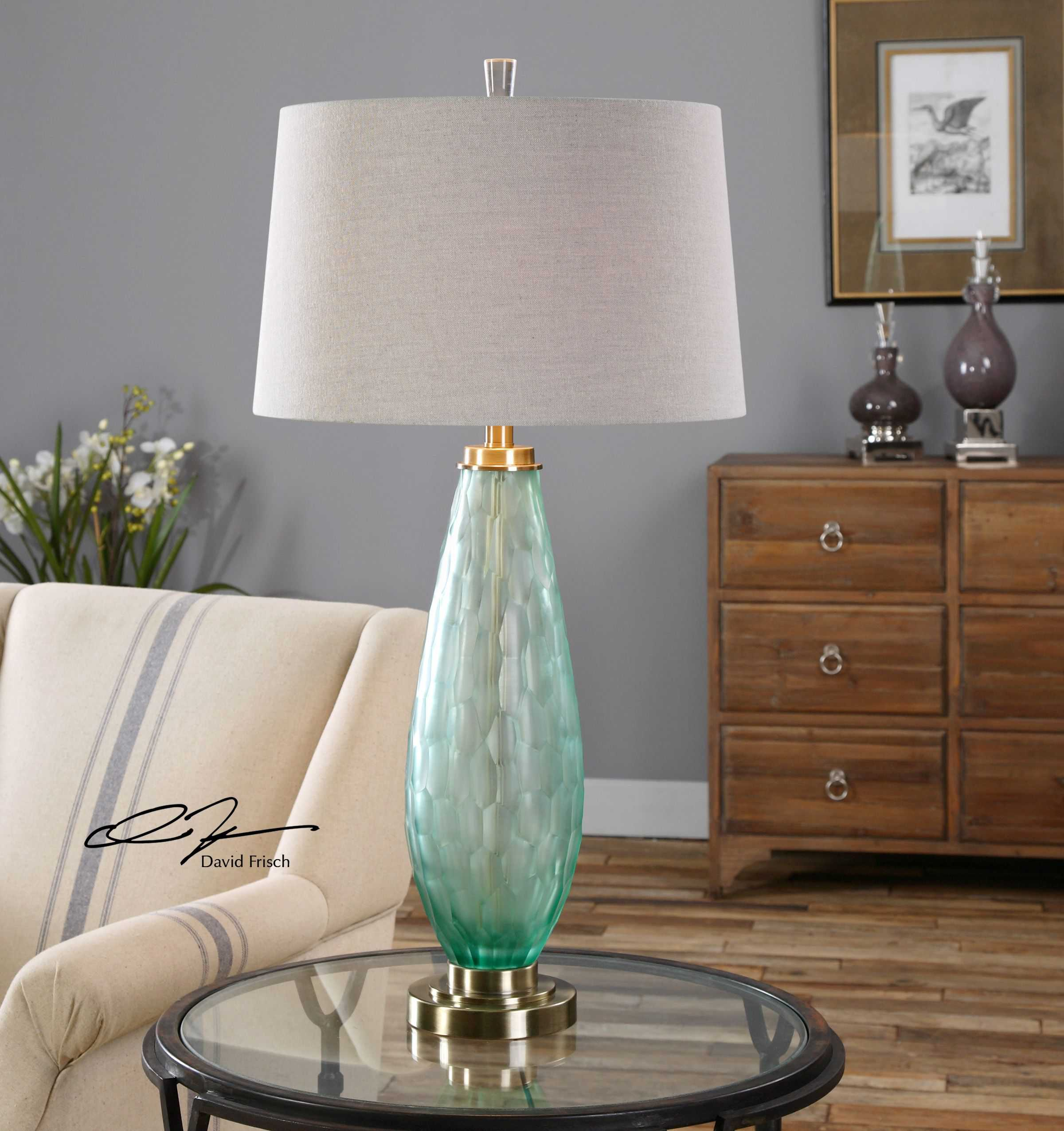 Uttermost Lenado Sea Green Glass Table Lamp Ut27003