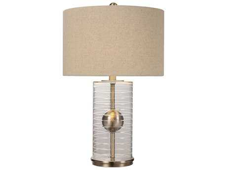 Uttermost Tupelo Brass & Glass Cylinder Table Lamp