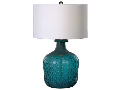 Uttermost Laval Embossed Blue Glass Table Lamp