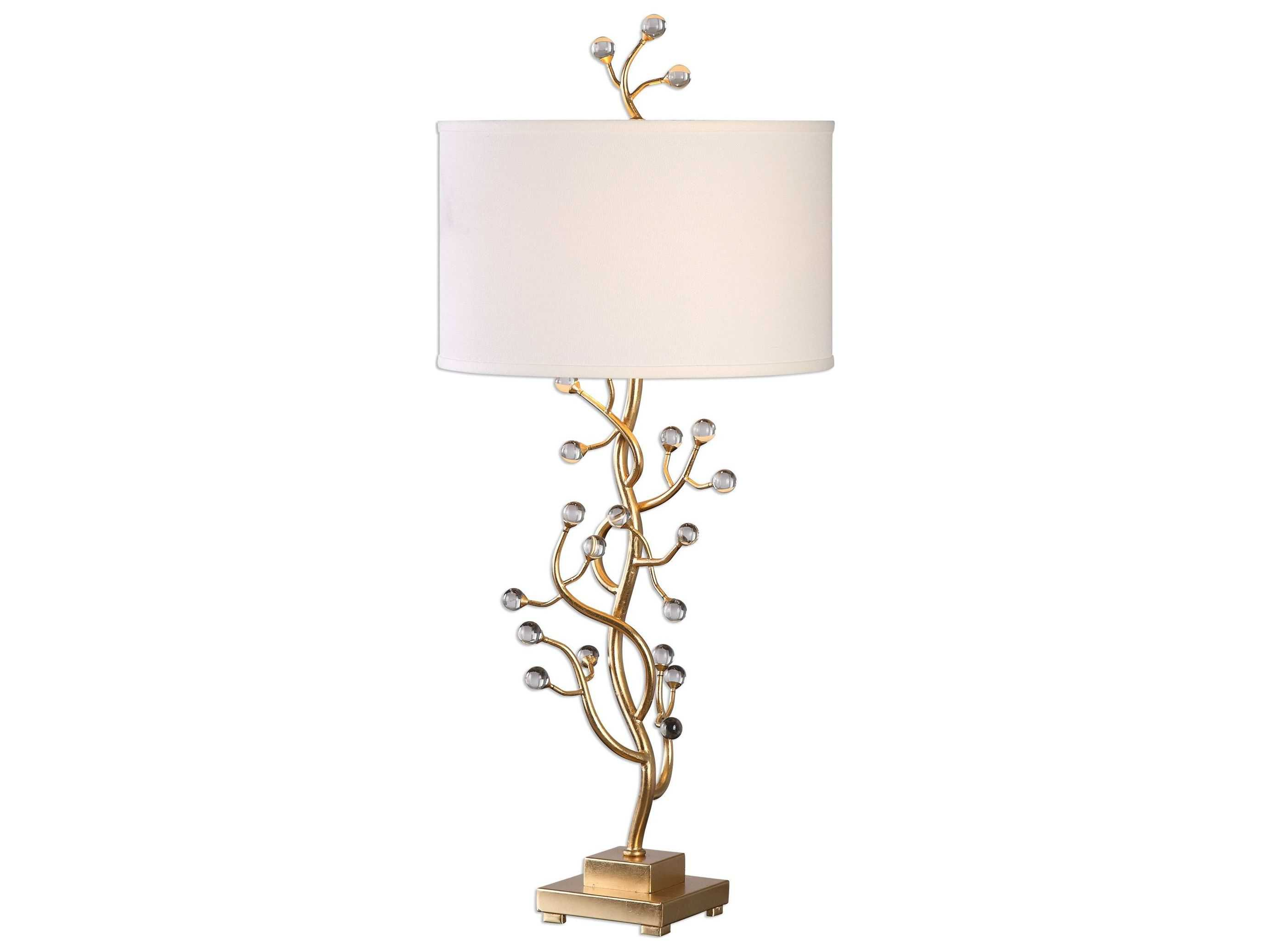 Wildwood brass and crystal beads buffet - Uttermost Bede Gold Leaf Buffet Lamp