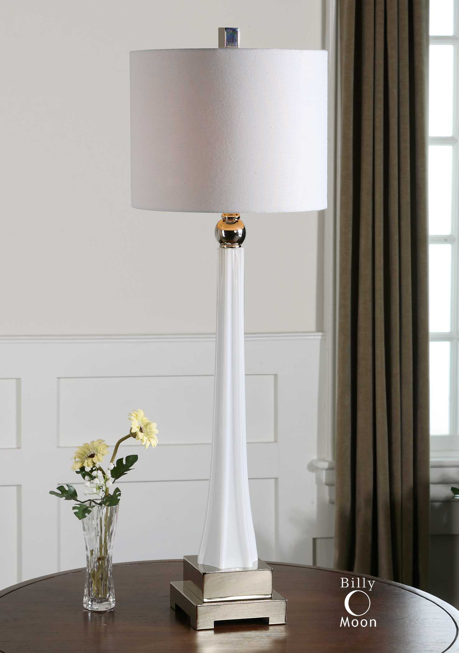 Uttermost Boretto White Glass Buffet Lamp Ut293291