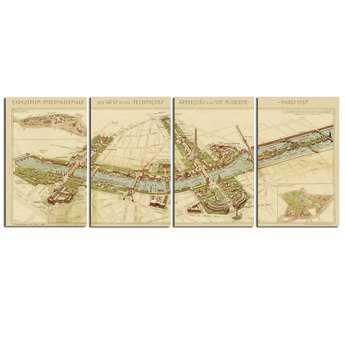 Uttermost Paris Map Wall Art (4 Piece Set)