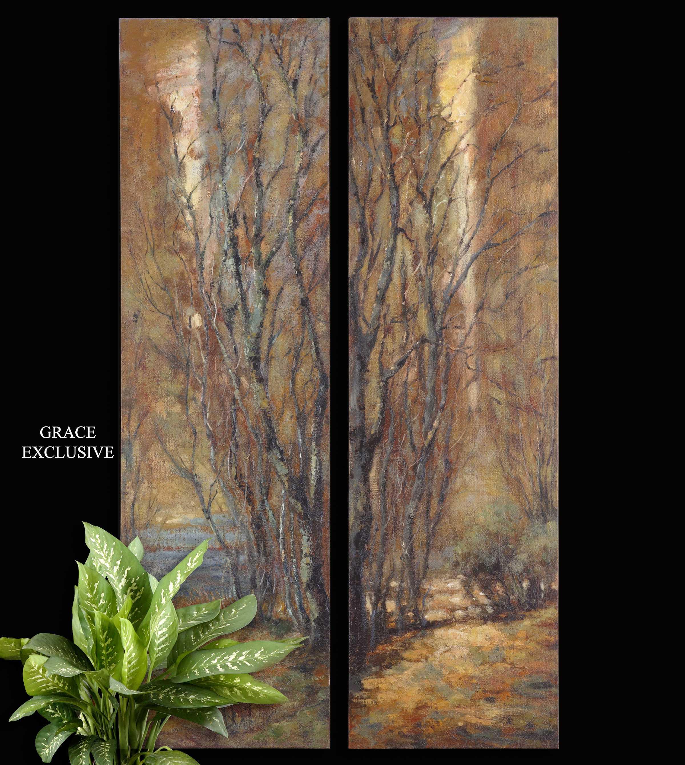 Tree Wall Paneling : Uttermost tree panels wall art piece set ut