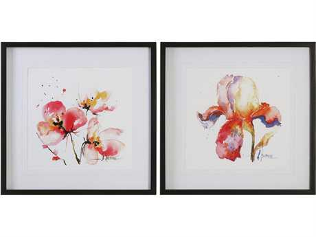 Uttermost Grace Feyock Blooms Hermanas Watercolor Prints (Set of Two)