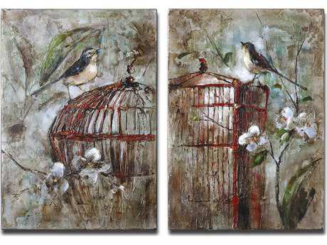 Uttermost Birds In A Cage Canvas Wall Art (2 Piece Set)
