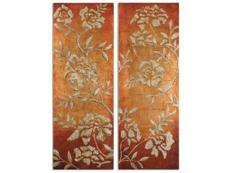 Uttermost Chalk Florals Hand Painted Wall Art (2 Piece Set)