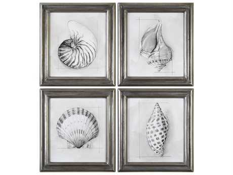 Uttermost Grace Feyock Shell Schematic Aquatic Prints (Set of Four)