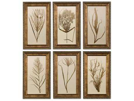 Uttermost Wheat Grass Framed Wall Art (6 Piece Set)